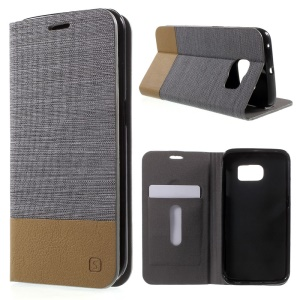 Assorted Colors Leather Stand Case for Samsung Galaxy S6 Edge G925 - Dark Grey