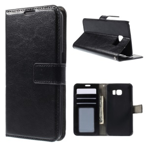 Crazy Horse Leather Wallet Cover for Samsung Galaxy S6 Edge SM-G925 - Black