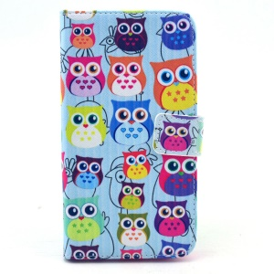 Leather Wallet Purse Case for Samsung Galaxy S6 G920 - Multiple Cute Owls