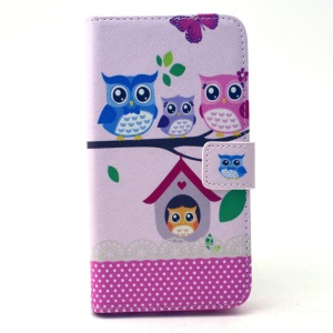 Leather Flip Case Card Cash Holder for Samsung Galaxy S6 G920 - Love Owl Family