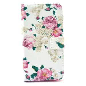Wallet Leather Stand Case for Samsung Galaxy S6 G920 - Rose Flowers