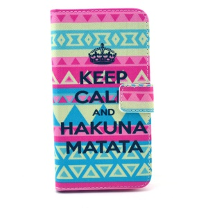 Keep Calm and HAKUNA MATATA & Geometric Pattern Leather Cover for Samsung Galaxy S6 G920 with Card Slots