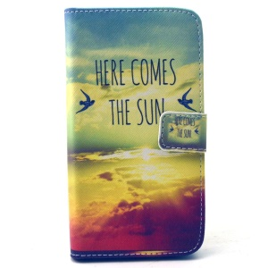Wallet Leather Stand Case for Samsung Galaxy S6 G920 - Here Comes the Sun