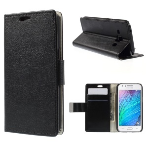 Crazy Horse Leather Case with Credit Card Slots for Samsung Galaxy J1 / J1 4G - Black