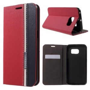Contrast Color Leather Stand Case for Samsung Galaxy S6 Edge SM-G925 - Red