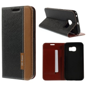 Cross Texture Leather Case for Samsung Galaxy S6 SM-G925 Edge Contrast Color - Black