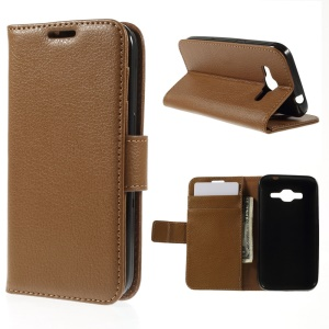 Lichi Texture Wallet Leather Cover for Samsung Galaxy Core Prime SM-G360f - Brown