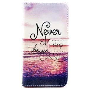 Never Stop Dreaming Pattern PU Leather Stand Cover for Samsung Galaxy S6 G920