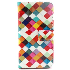 Harlequin Pattern PU Leather Stand Cover for Samsung Galaxy S6 G920