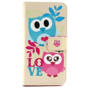 Cute Owls & LOVE Pattern PU Leather Stand Cover for Samsung Galaxy S6 G920
