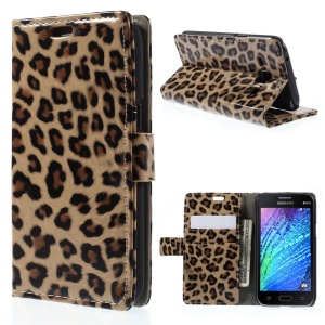 Glossy Leopard Leather Wallet Stand Case for Samsung Galaxy J1 / J1 4G