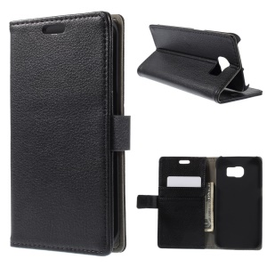 Lychee Grain Leather Wallet Case for Samsung Galaxy S6 Edge G925 with Stand - Black