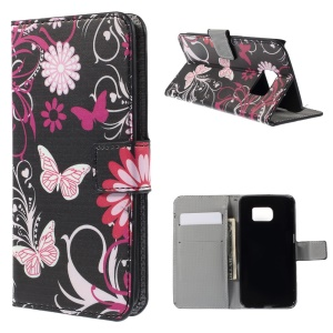 Card Holder Leather Case for Samsung Galaxy S6 edge G925 - Butterflies and Flowers