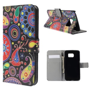 Leather Flip Case Wallet Stand for Samsung Galaxy S6 edge G925 - Paisley Style Pattern