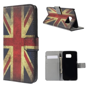 Wallet Leather Cover with Stand for Samsung Galaxy S6 edge G925 - Retro British UK Flag