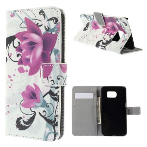 Folio Leather Cover with Card Slots for Samsung Galaxy S6 edge G925 - Purple Flowers
