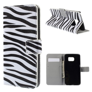 Folio Leather Cover Card Cash Holder for Samsung Galaxy S6 edge G925 - Zebra Stripe