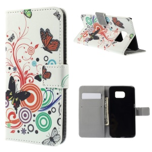 Leather Case Card Cash Holder for Samsung Galaxy S6 edge G925 - Butterflies and Circles