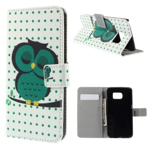 PU Leather Case Wallet Stand for Samsung Galaxy S6 edge G925 - Green Napping Owl