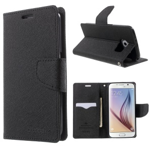 MERCURY Goospery Fancy Diary Leather Case for Samsung Galaxy S6 G920 with Stand - Black