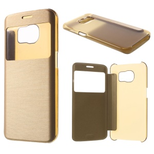 View Window Leather Folio Cover for Samsung Galaxy S6 edge G925 - Gold