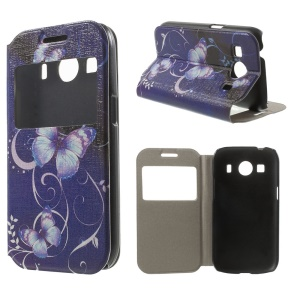 Vivid Butterfly PU Leather Case for Samsung Galaxy Ace 4 SM-G357FZ / Ace Style LTE G357 Window View