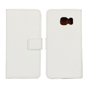 Genuine Split Leather Wallet Case for Samsung Galaxy S6 Edge G925 with Stand - White