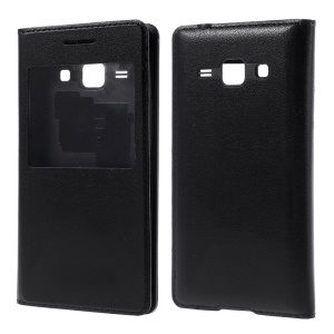 View Window Flip Leather Rear Housing Cover for Samsung Galaxy J1 / J1 4G - Black