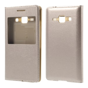 View Window Flip Leather Rear Housing Cover for Samsung Galaxy J1 / J1 4G - Gold