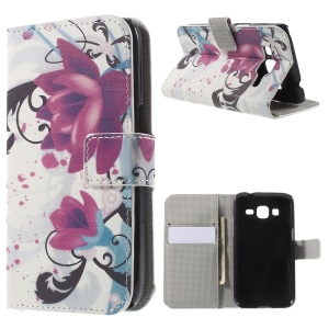 Kapok Flower Leather Wallet Stand Case for Galaxy Core Prime SM-G360