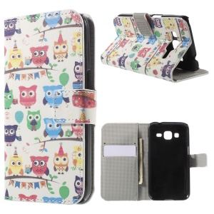 Multiple Cute Owls Leather Wallet Stand Cover for Galaxy Core Prime SM-G360