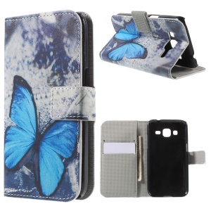 Blue Butterfly Flip Leather Wallet Stand Shell for Galaxy Core Prime SM-G360