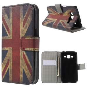 Retro UK Flag Flip Leather Card Holder Stand Cover for Galaxy Core Prime SM-G360