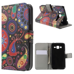 Paisley Style Magnetic Leather Wallet Stand Cover for Galaxy Core Prime SM-G360