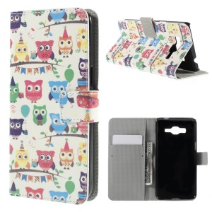 Multiple Cute Owls Magnetic Stand Leather Cover para Samsung Galaxy Grand Prime SM-G530H