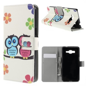 Owl Lover and Flowers Magnetic Stand Leather Shell for Samsung Galaxy Grand Prime SM-G530H
