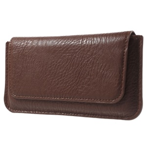 Elephant Skin Leather Waist Pouch for Samsung Galaxy S6 G920, Size: 15.5 x 7.5cm - Brown