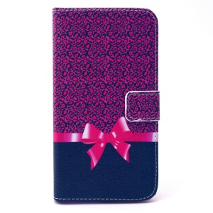 Leather Card Holder Cover for Galaxy Grand Prime SM-G530H - Leopard and Bowknot