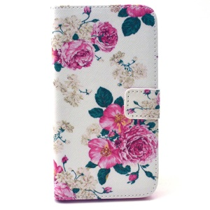 Leather Card Holder Case for Galaxy Grand Prime SM-G530H - Rose Flowers
