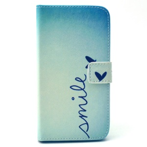 Leather Wallet Stand Case for Galaxy Grand Prime SM-G530H - Smile and Heart