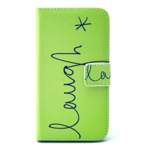 Letter Laugh Leather Stand Wallet Cover for Galaxy Core Prime SM-G360