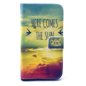Leather Stand Wallet Cover for Galaxy Core Prime SM-G360 - Here Comes the Sun