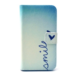 Smile & Heart Leather Stand Wallet Cover for Galaxy Core Prime SM-G360