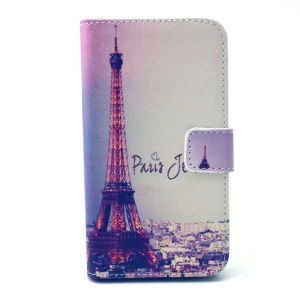 Eiffel Tower Leather Stand Wallet Cover for Galaxy Core Prime SM-G360