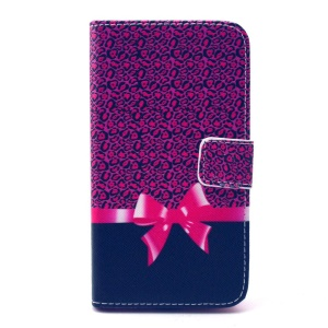 Leather Card Holder Cover for Galaxy Core Prime SM-G360 - Leopard and Bowknot