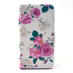 Rose Flowers Leather Card Holder Case for Galaxy Core Prime SM-G360