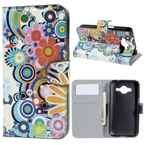 Horizontal Flip Leather Wallet Case for Samsung Galaxy Core Prime SM-G360 - Colorized flower