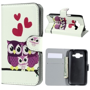 Horizontal Flip Leather Wallet Shell for Samsung Galaxy Core Prime SM-G360 - Love Owls