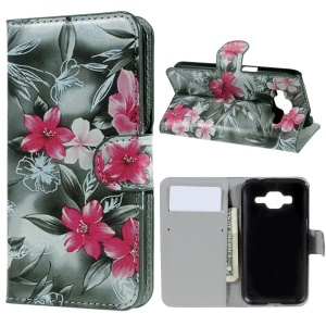 Booklet Flip Leather Wallet Shell for Samsung Galaxy Core Prime SM-G360 - Flowers