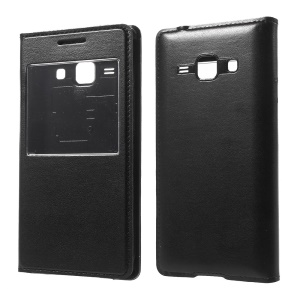 View Window Flip Leather Battery Door Cover for Samsung Galaxy J1 / J1 4G - Black